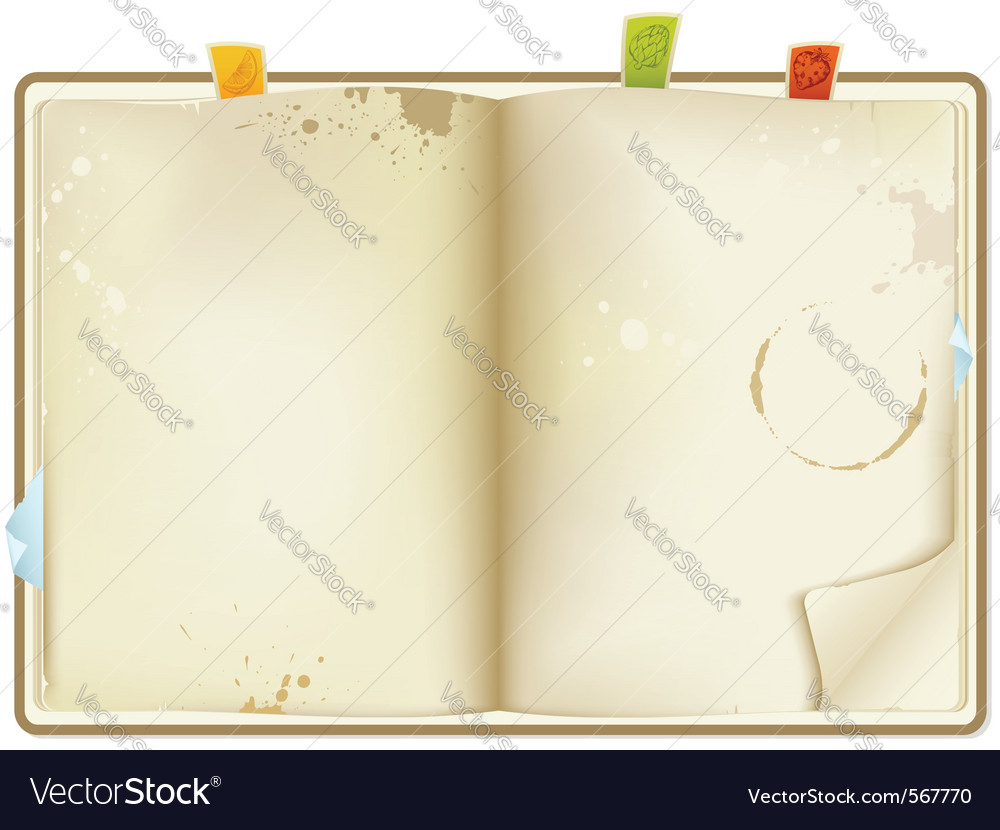 Open old recipe book vector | Price: 1 Credit (USD $1)
