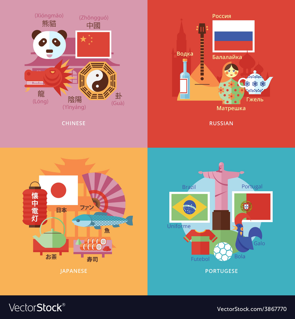 Set of flat design concepts for foreign languages vector | Price: 1 Credit (USD $1)