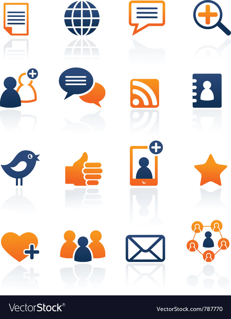 Social media and network icons set vector | Price: 1 Credit (USD $1)