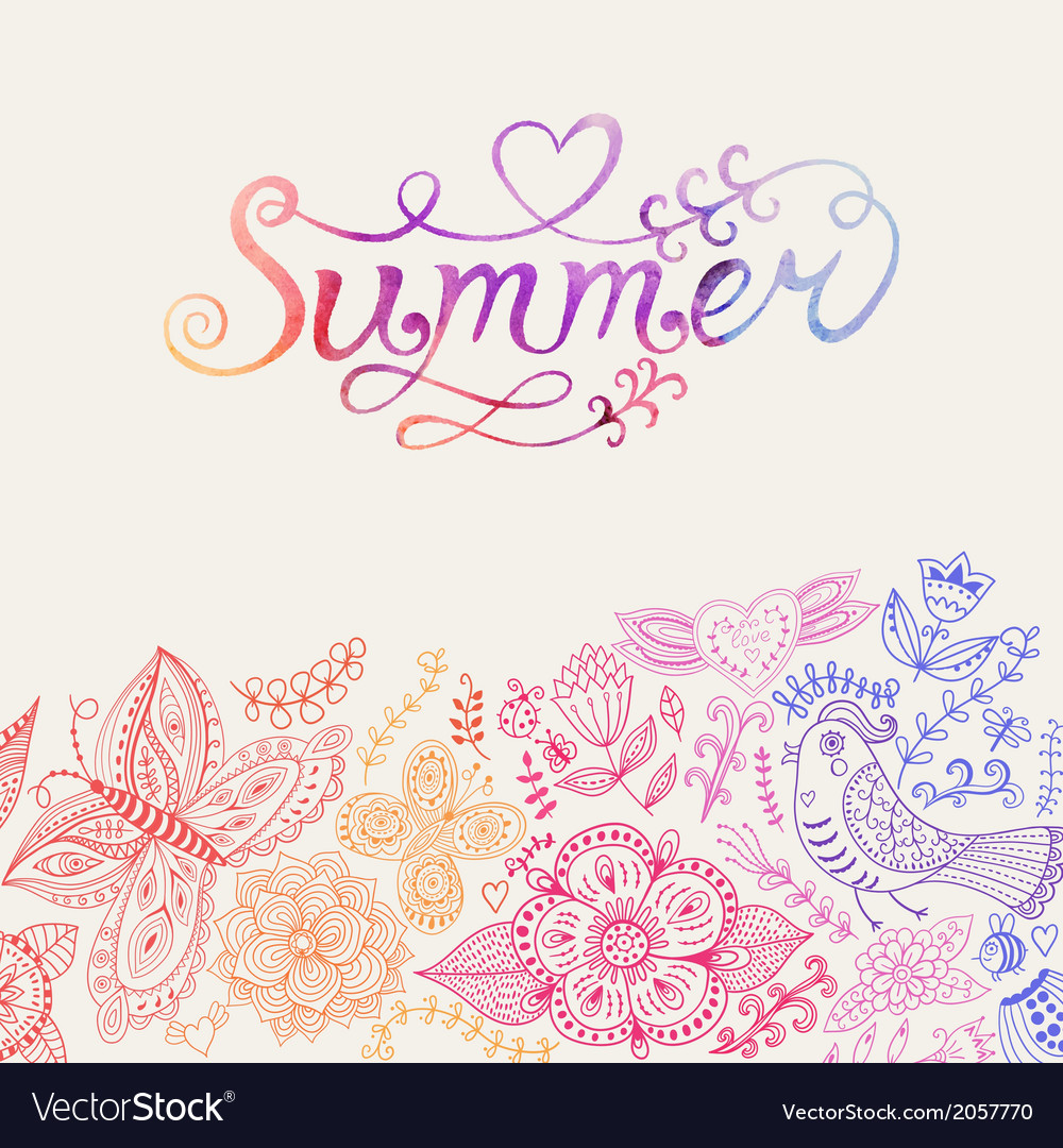 Summer watercolor lettering hand drawn watercolor vector | Price: 1 Credit (USD $1)