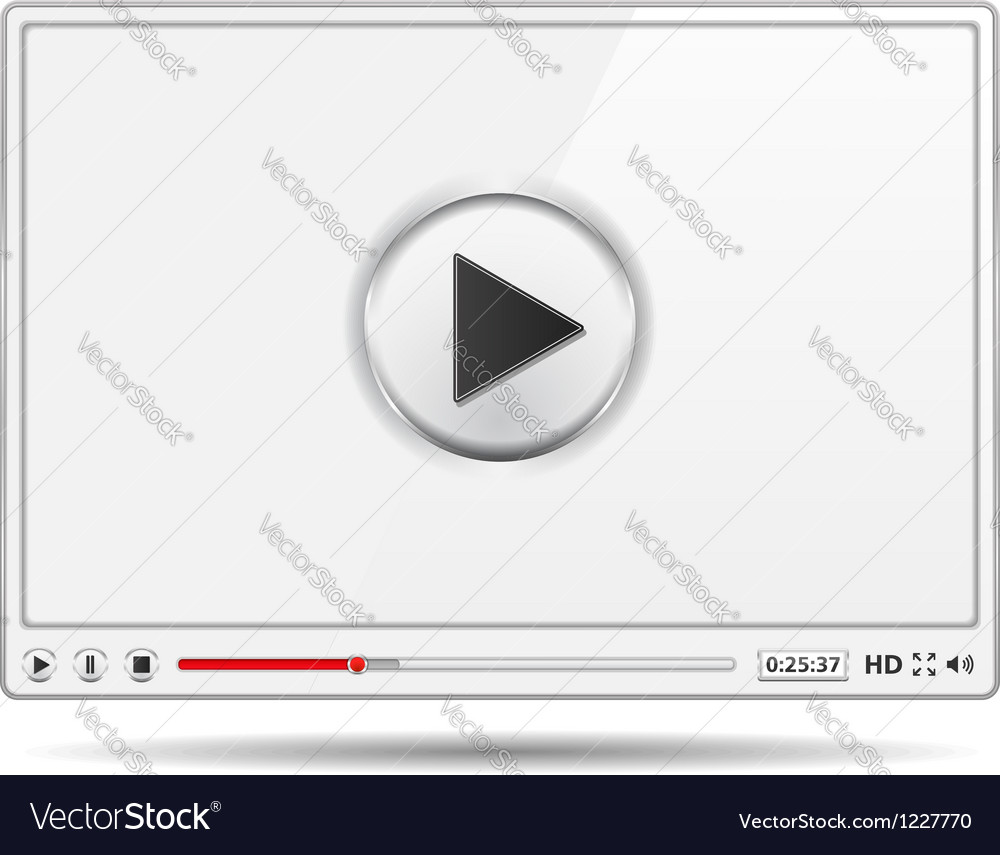 White video player vector | Price: 3 Credit (USD $3)