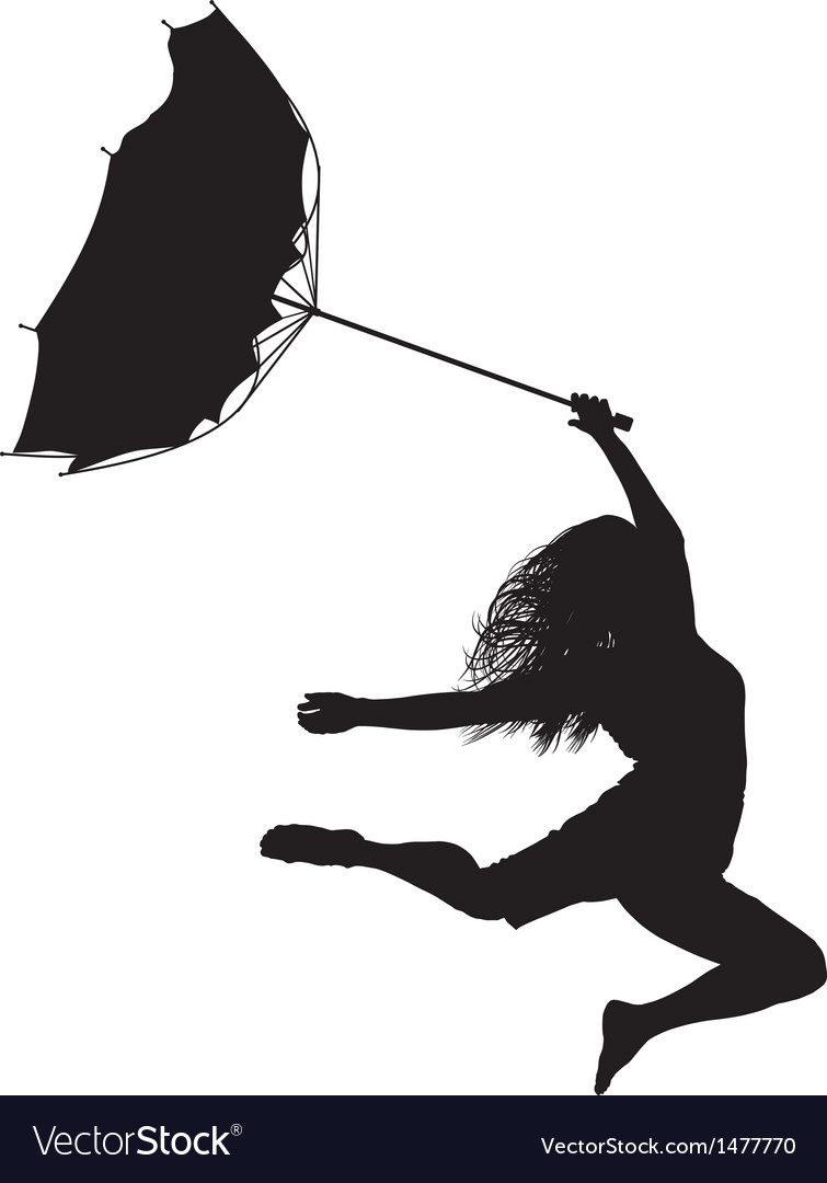 Woman jumps in the wind vector | Price: 1 Credit (USD $1)