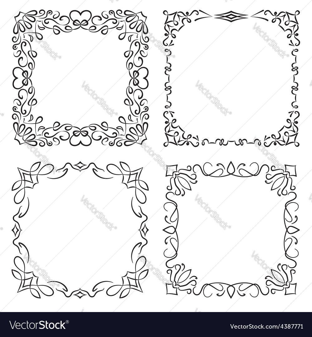 4 square frames in vintage style vector | Price: 1 Credit (USD $1)