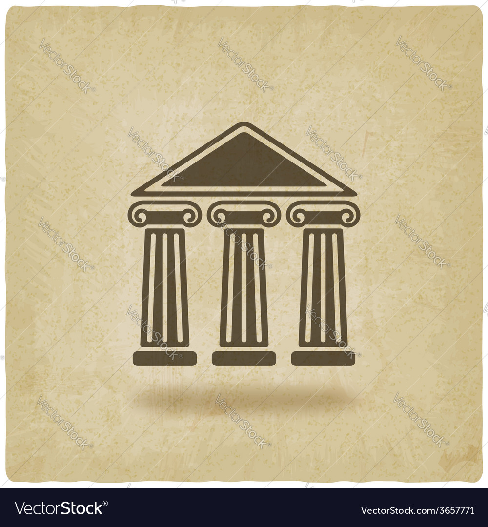Building with columns old background vector | Price: 1 Credit (USD $1)