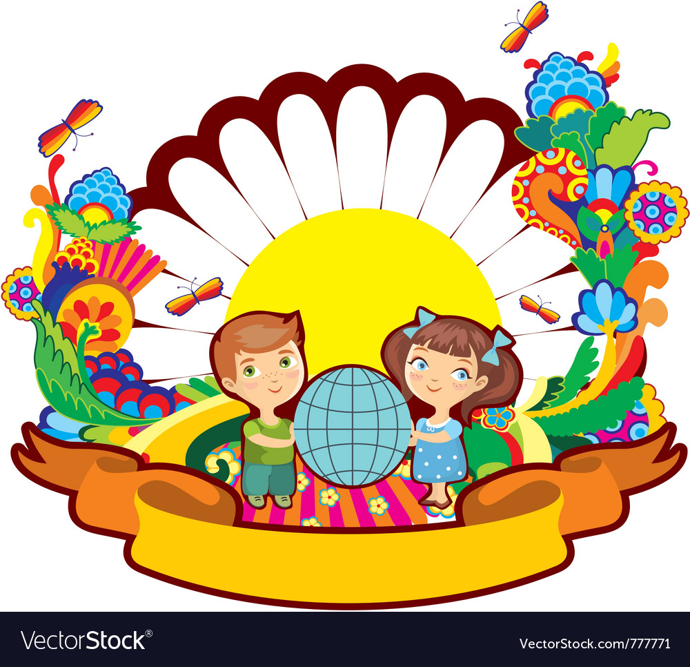 Children world flower vector | Price: 1 Credit (USD $1)
