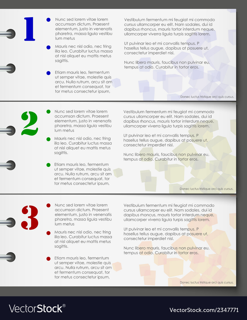 Colorful bookmarks for three steps vector   Price: 1 Credit (USD $1)
