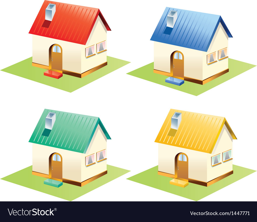 Colorful houses set isolated vector | Price: 1 Credit (USD $1)