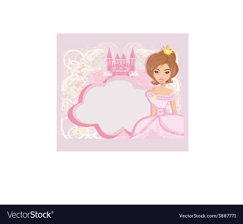 Decorative frame with beautiful princess and pink vector | Price: 1 Credit (USD $1)
