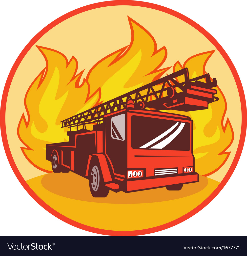 Fire truck or engine appliance with flames vector | Price: 1 Credit (USD $1)