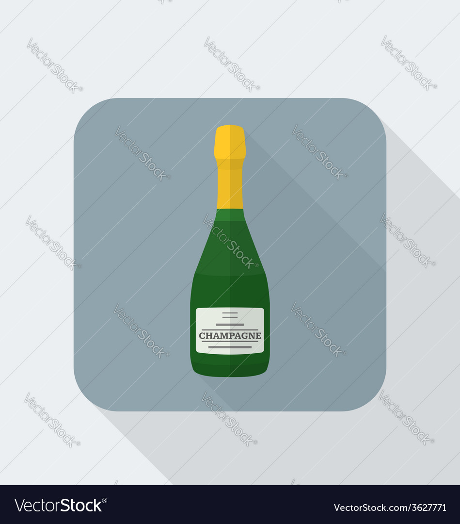 Flat style champagne bottle icon with shadow vector | Price: 1 Credit (USD $1)