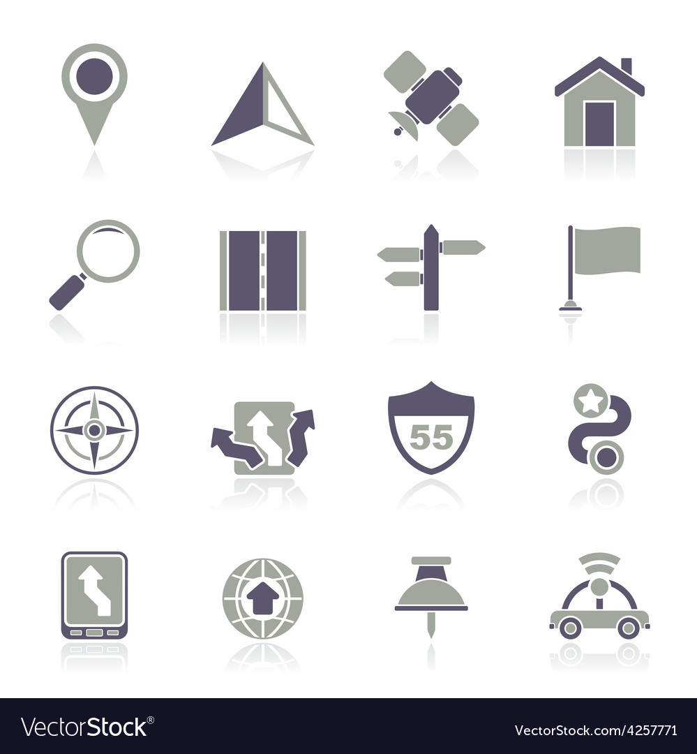 Gps navigation and road icons vector | Price: 1 Credit (USD $1)