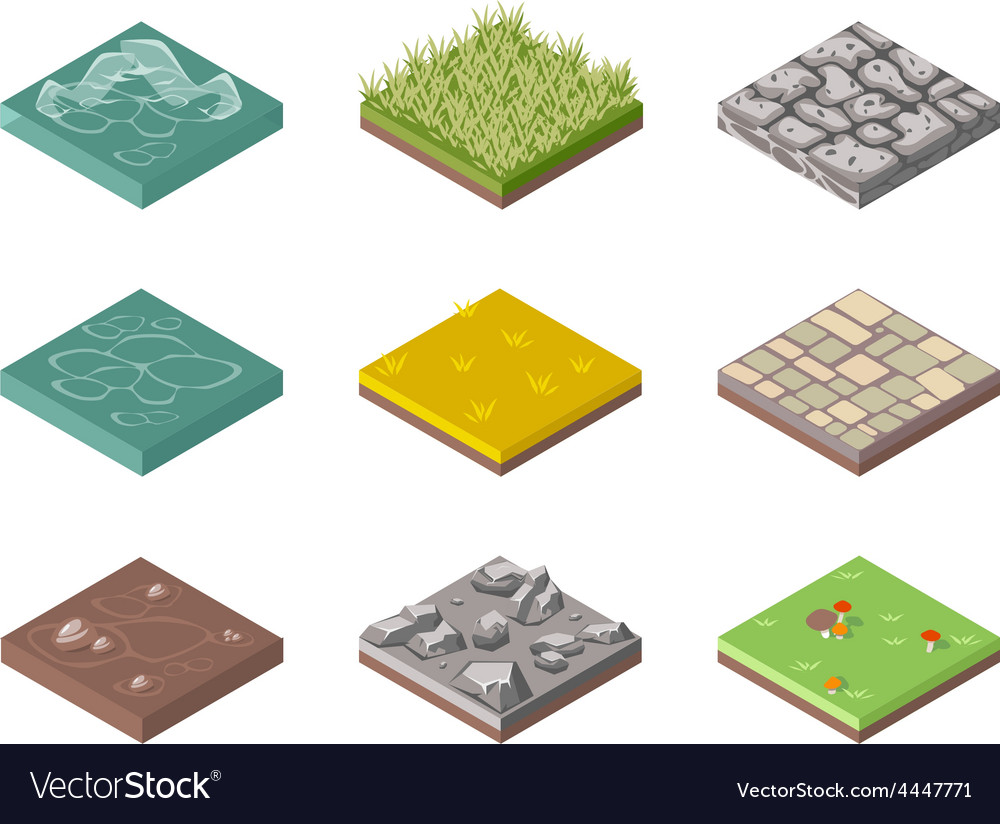 Ground surfaces grass rocks and water vector | Price: 1 Credit (USD $1)