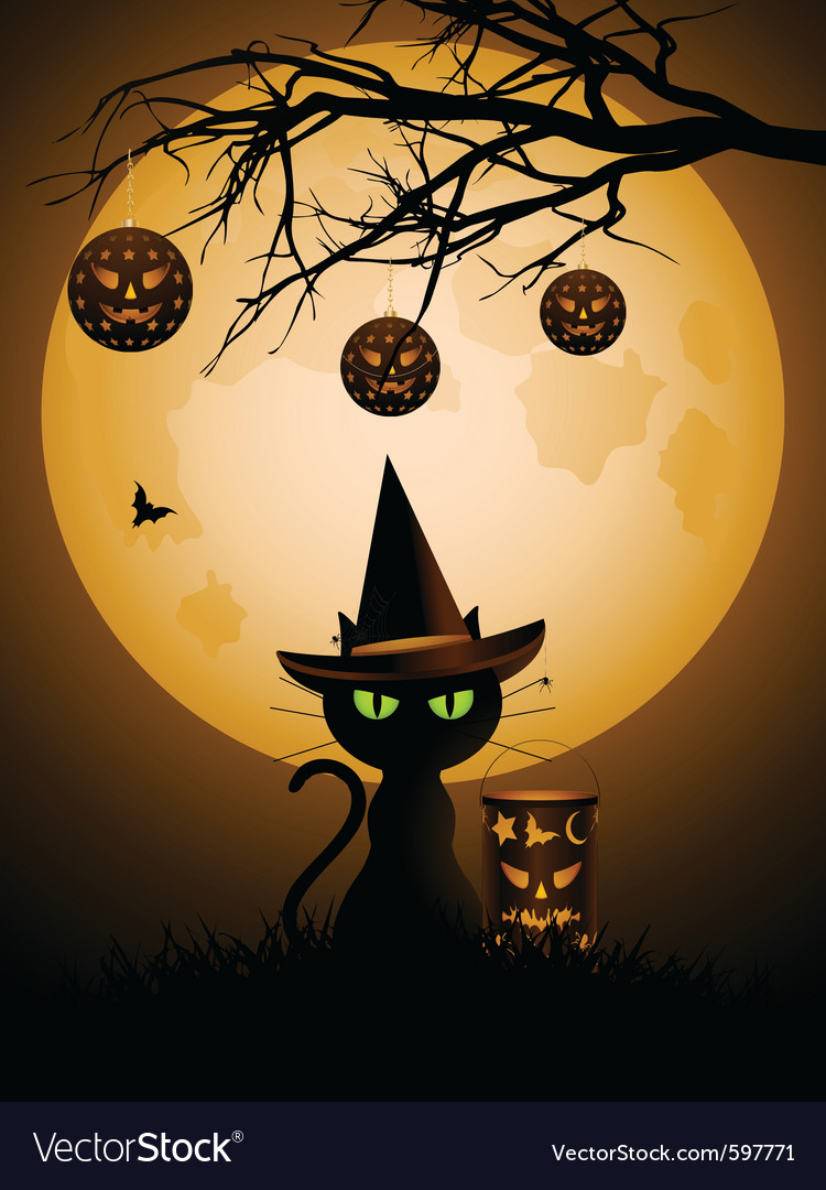 Halloween black cat vector | Price: 3 Credit (USD $3)