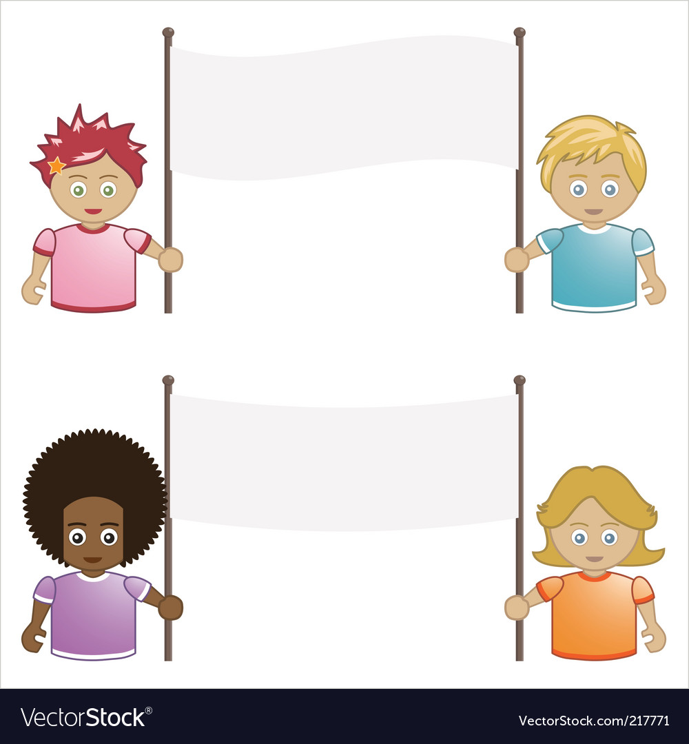 Kids holding banners vector | Price: 3 Credit (USD $3)