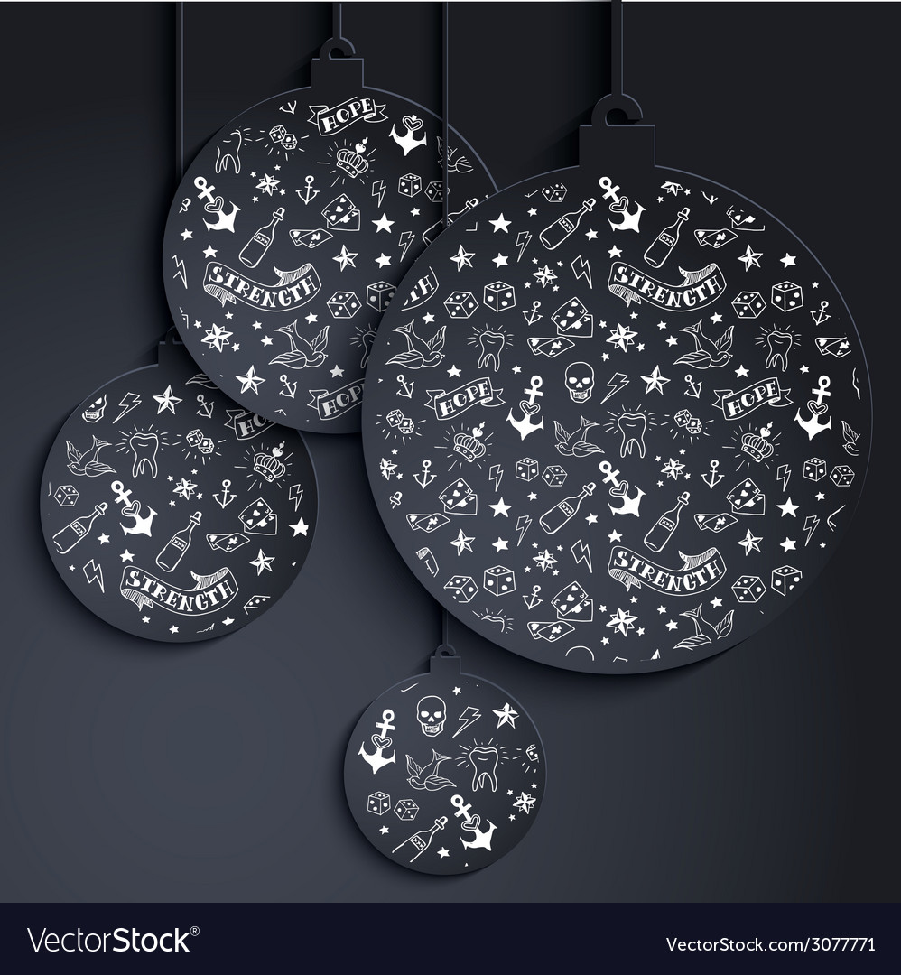 Miminal xmas balls with tattoo pattern vector | Price: 1 Credit (USD $1)