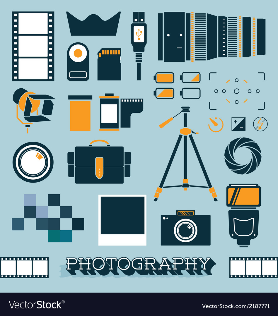 Photography and camera objects vector | Price: 1 Credit (USD $1)