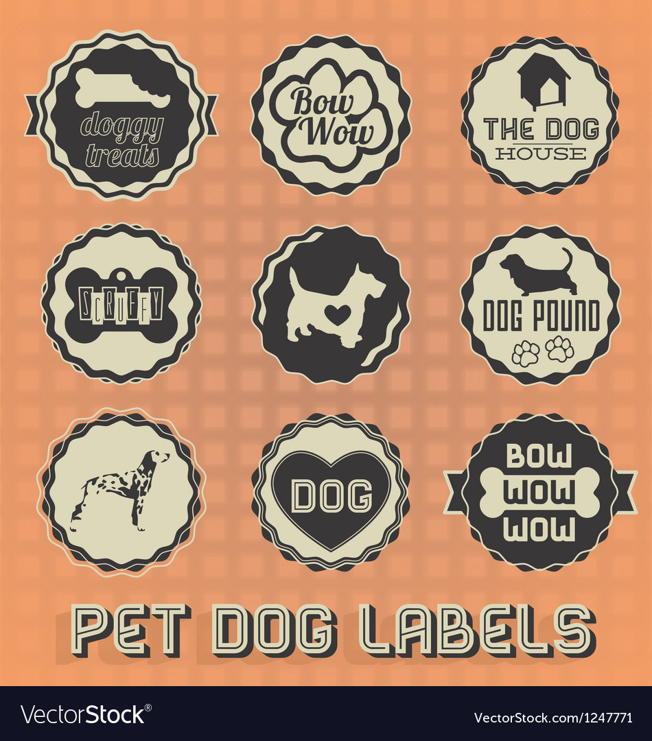 Vintage pet dog labels and icons vector | Price: 3 Credit (USD $3)