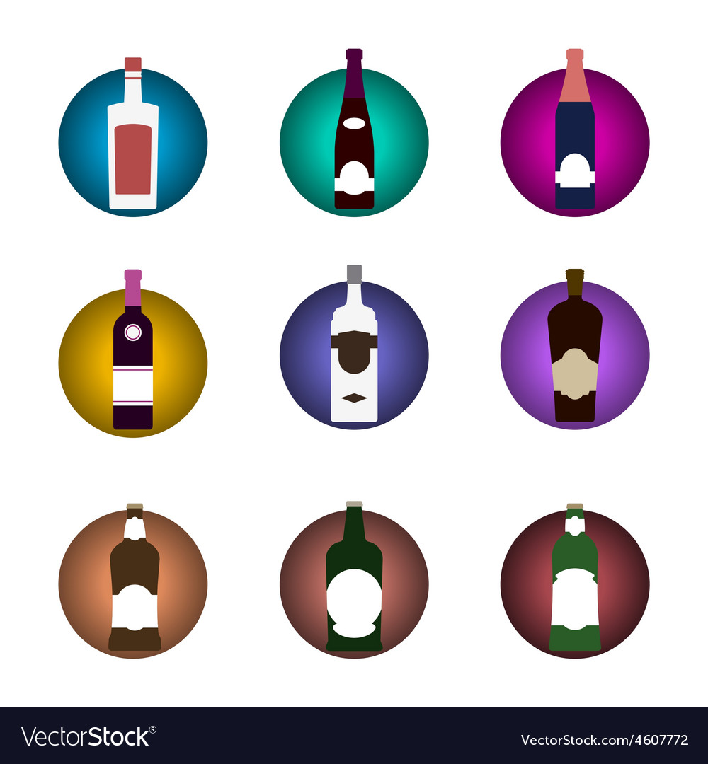 Bottle icon set vector | Price: 1 Credit (USD $1)
