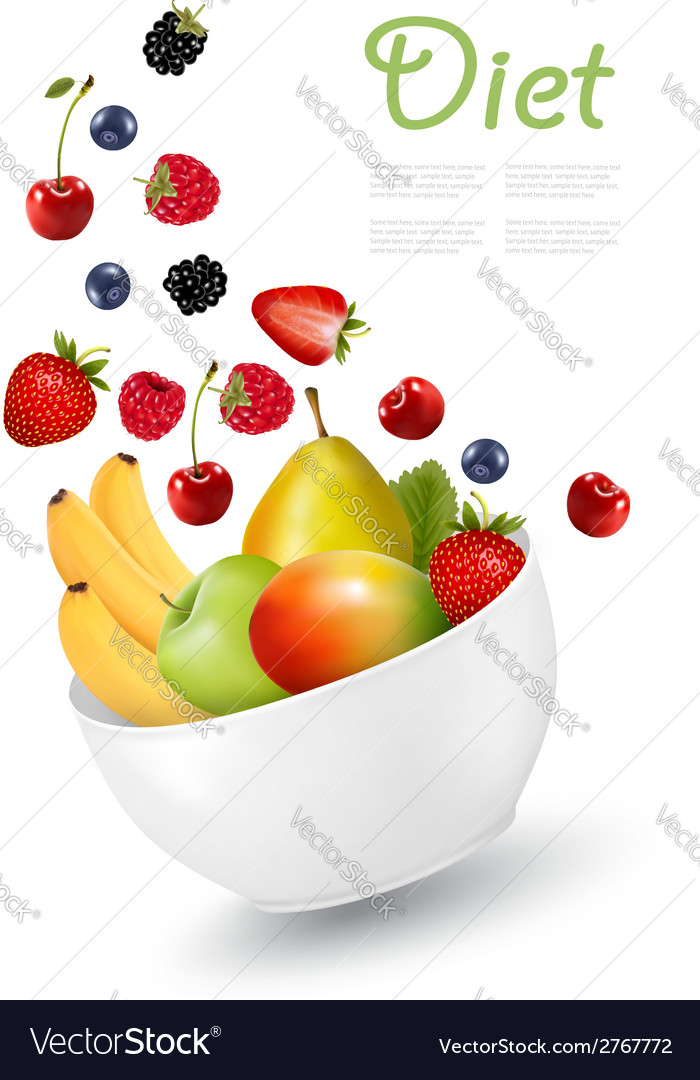 Bowl of healthy fruit concept of diet vector | Price: 1 Credit (USD $1)