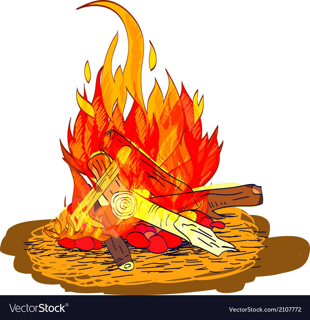 Camp fire sketch vector | Price: 1 Credit (USD $1)