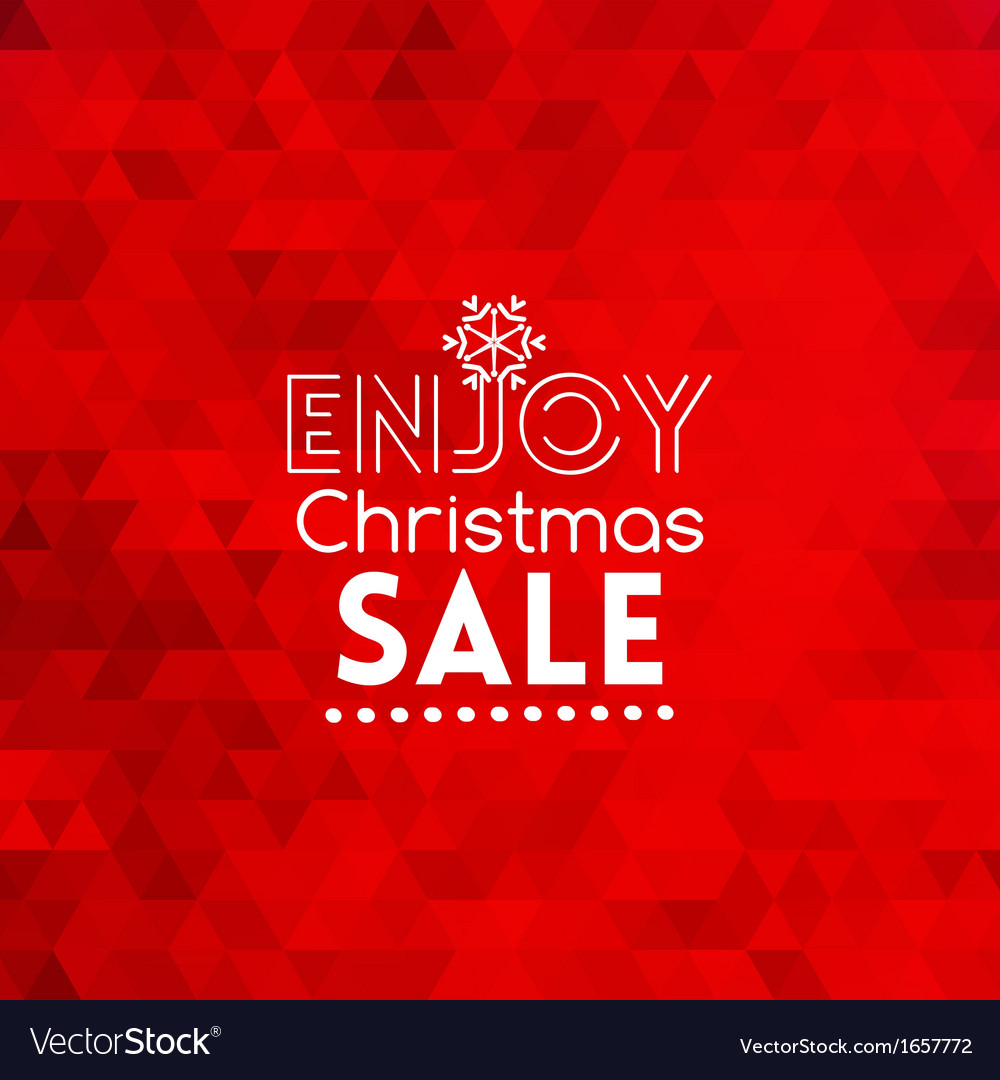 Enjoy christmas sale card abstract red background vector | Price: 1 Credit (USD $1)