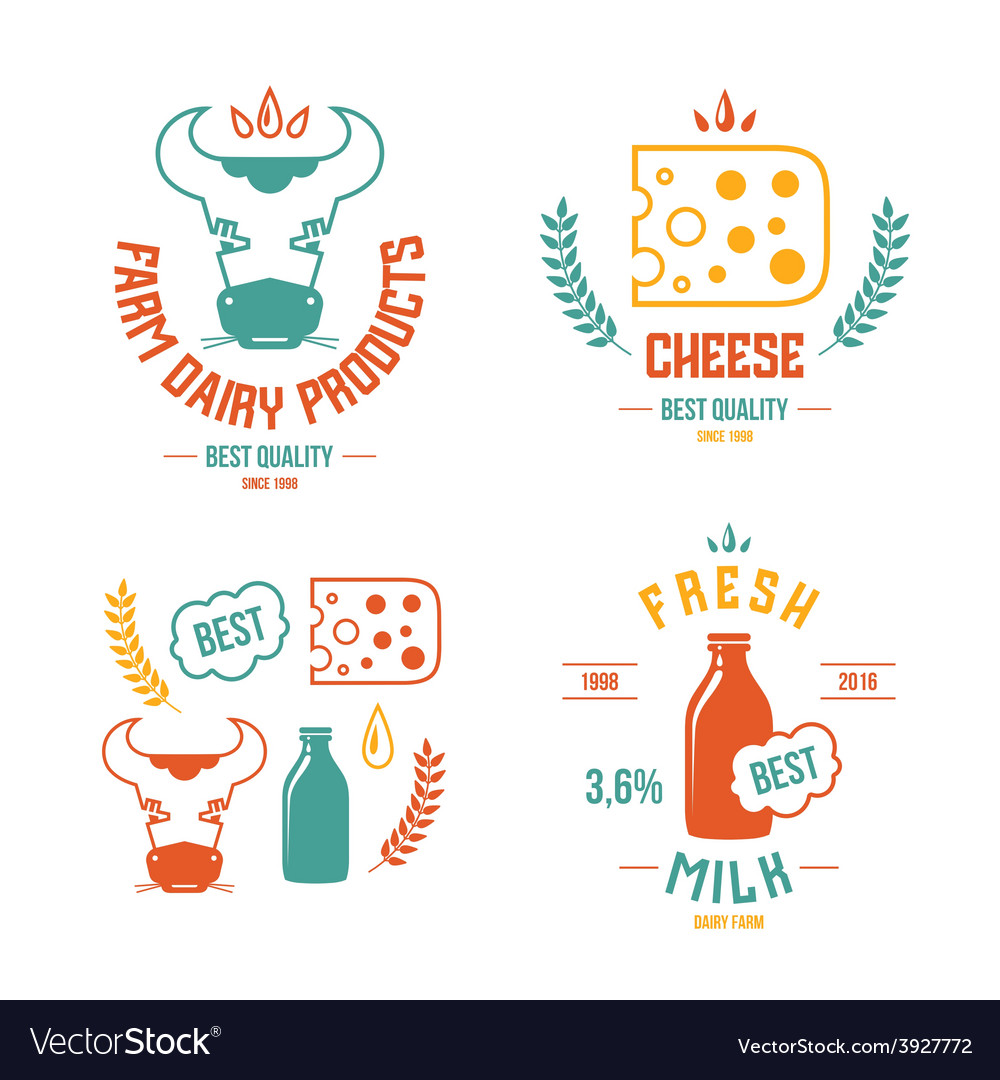 Farm dairy products emblems and icons vector | Price: 1 Credit (USD $1)