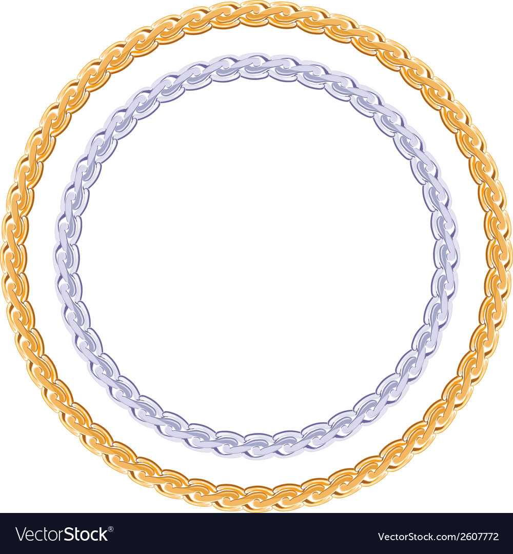 Figured gold and silver chain - round frame vector | Price: 1 Credit (USD $1)
