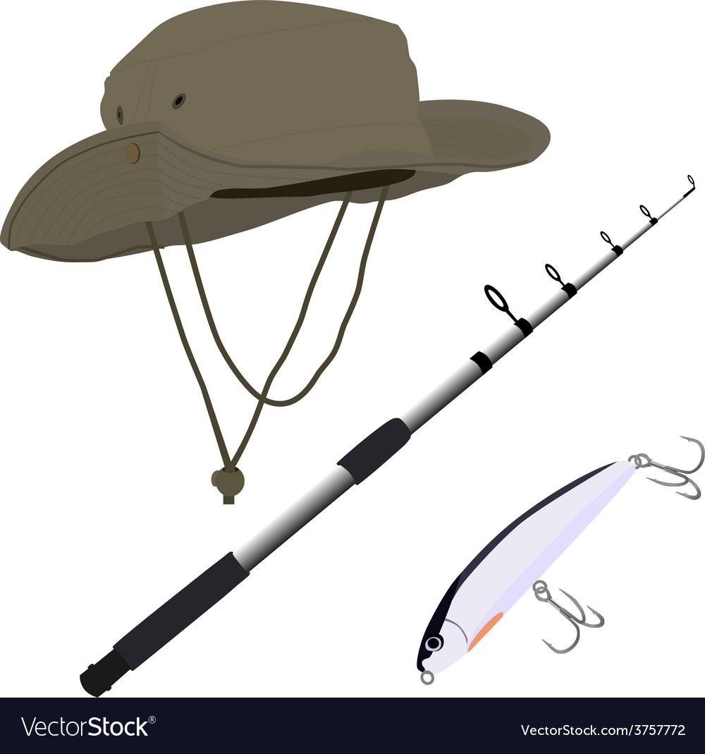 Fishing pole hat and bait vector | Price: 1 Credit (USD $1)