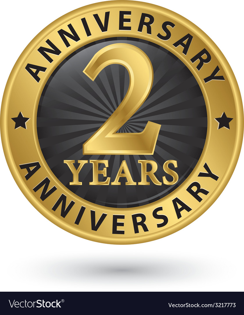2 years anniversary gold label vector | Price: 1 Credit (USD $1)
