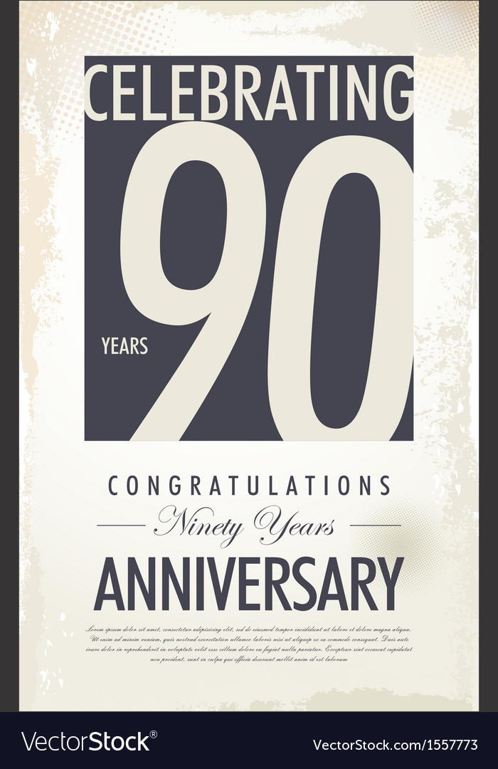 90 years anniversary retro background vector | Price: 1 Credit (USD $1)
