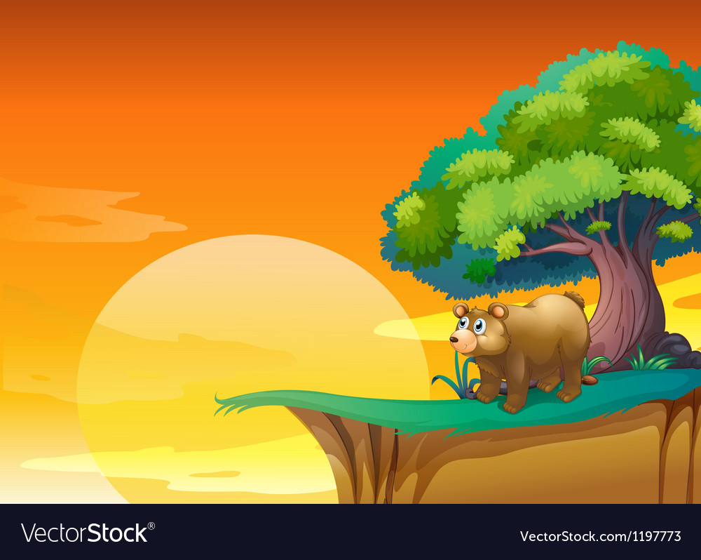 A bear near a cliff vector | Price: 1 Credit (USD $1)