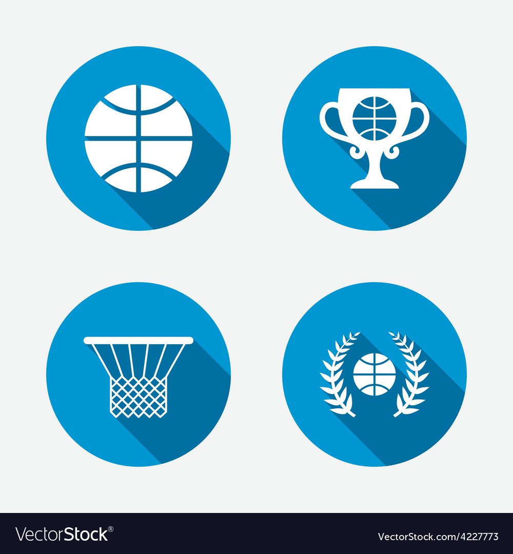 Basketball icons ball with basket and cup symbols vector | Price: 1 Credit (USD $1)