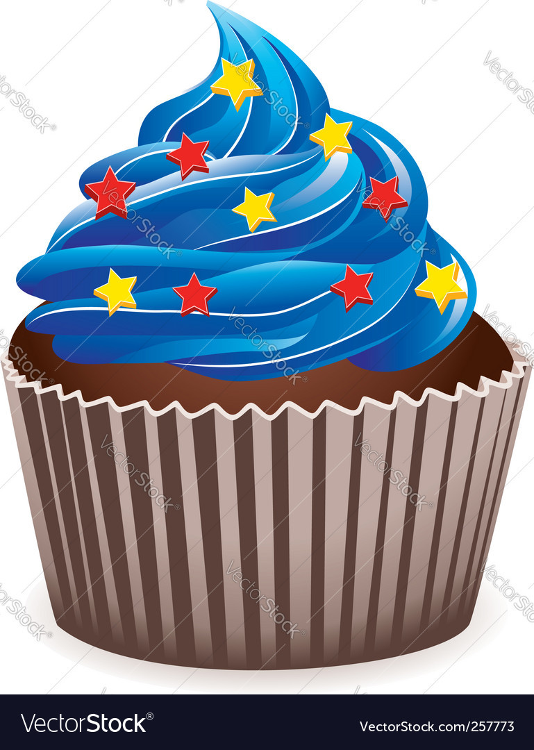 Blue cupcake vector | Price: 1 Credit (USD $1)