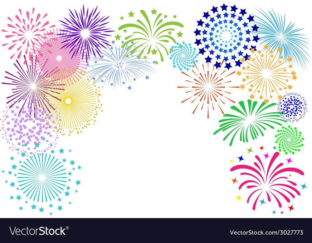 Colorful fireworks frame on white background vector | Price: 1 Credit (USD $1)