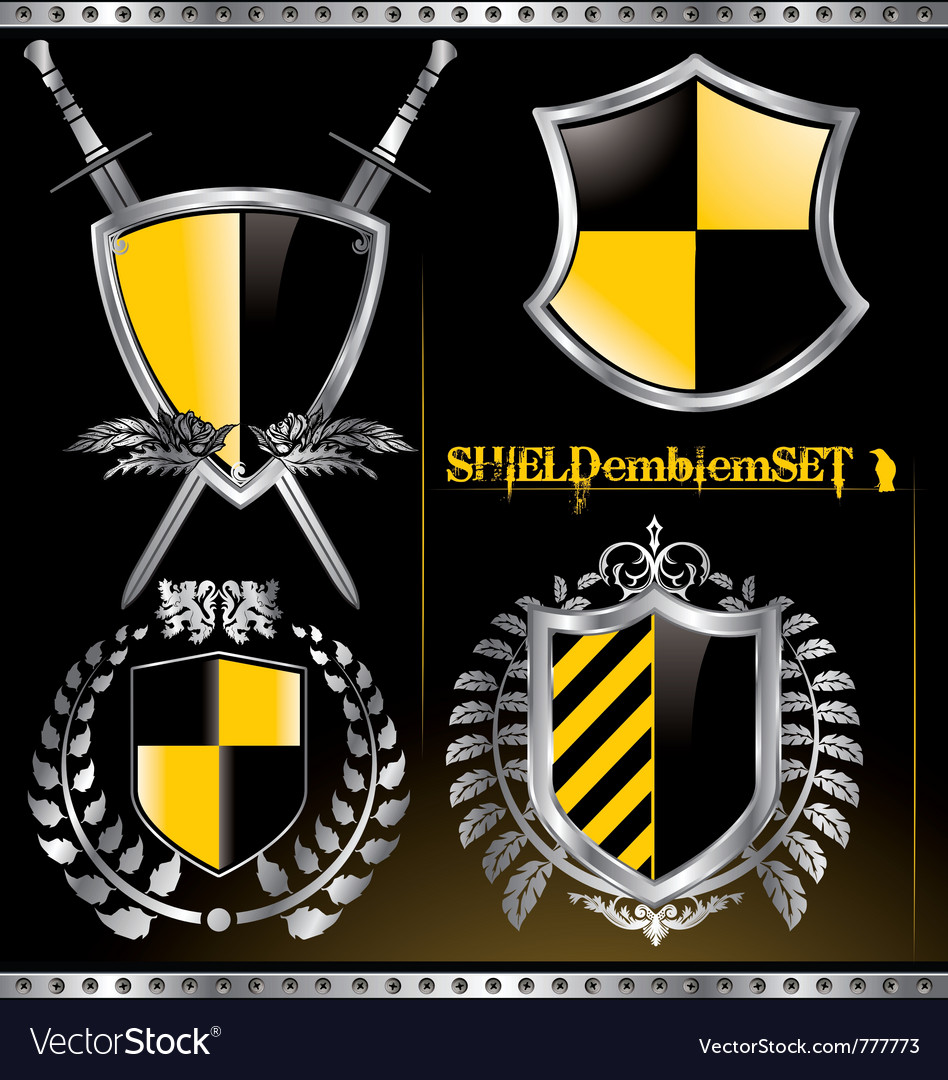 Glossy black and yellow shield emblem set vector | Price: 1 Credit (USD $1)