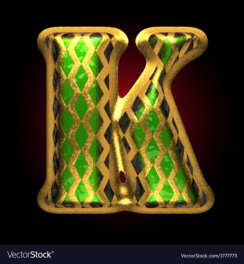 Golden and green letter k vector | Price: 1 Credit (USD $1)