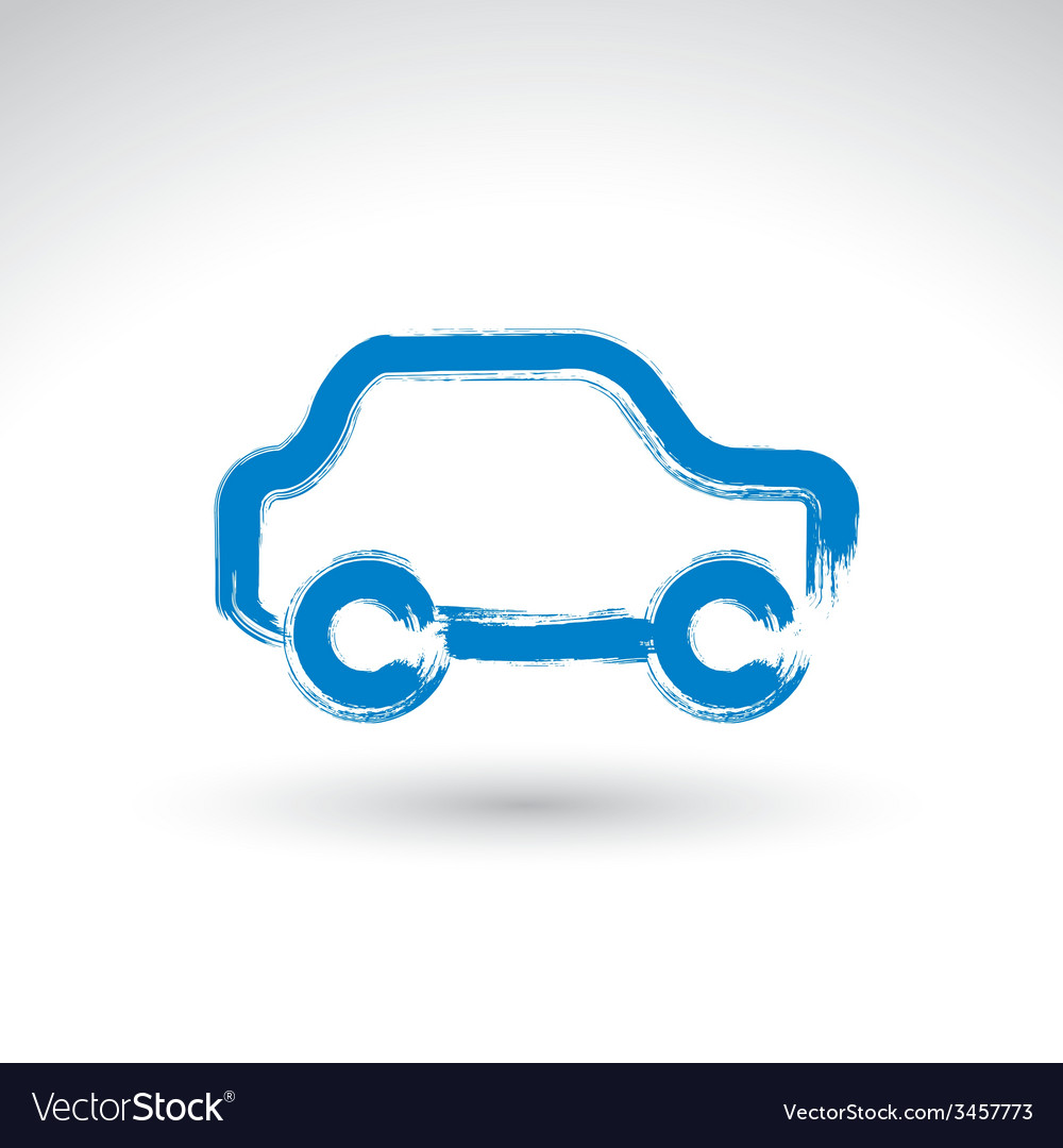 Hand drawn blue car icon brush drawing passenger vector   Price: 1 Credit (USD $1)