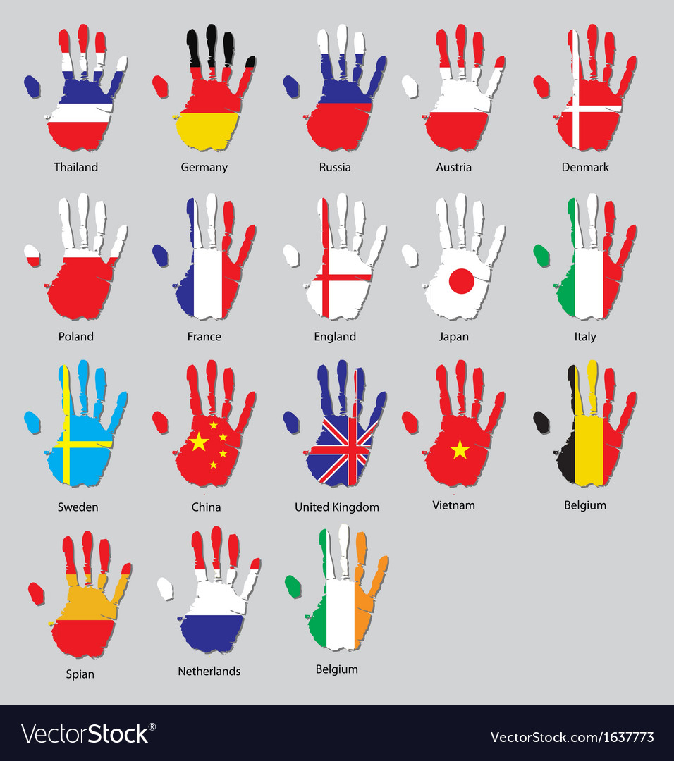 Hand flags vector | Price: 1 Credit (USD $1)