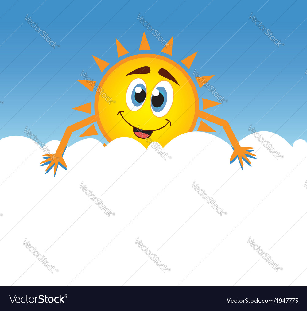 Happy sun with cloud vector | Price: 1 Credit (USD $1)