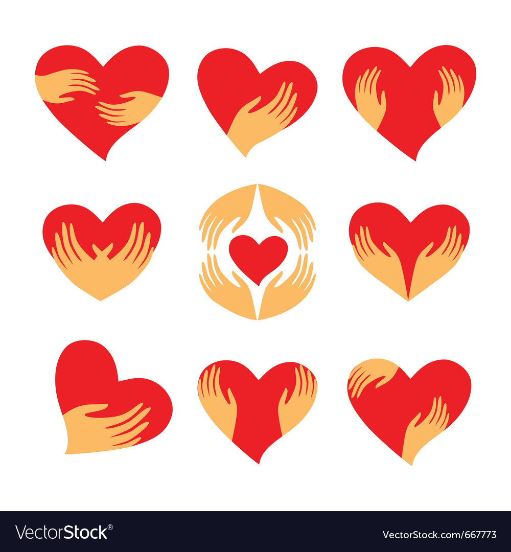 Heart hand symbols vector | Price: 1 Credit (USD $1)