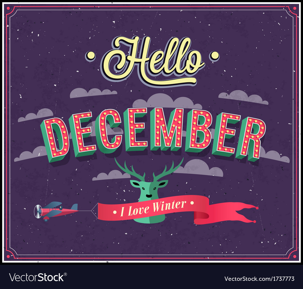 Hello december typographic design vector