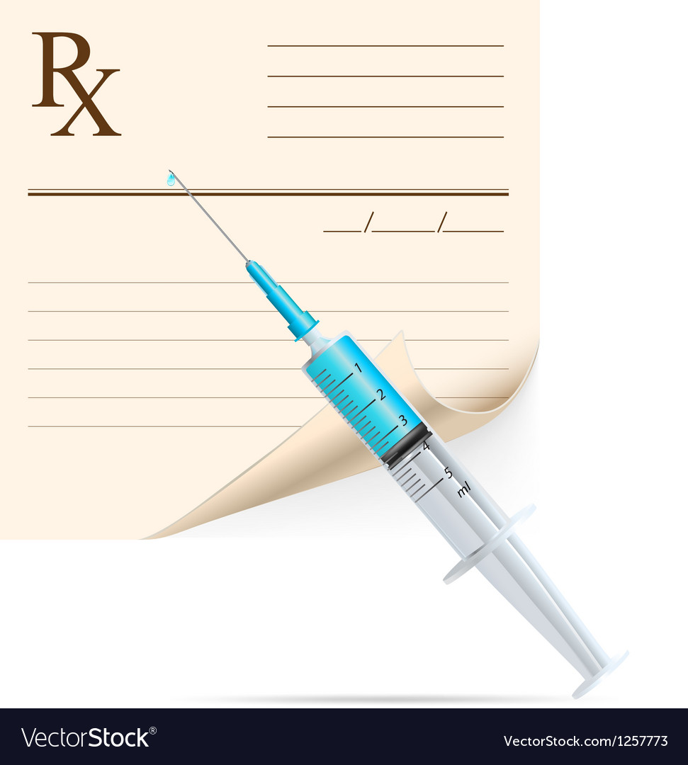 Medical prescription and syringe vector | Price: 3 Credit (USD $3)