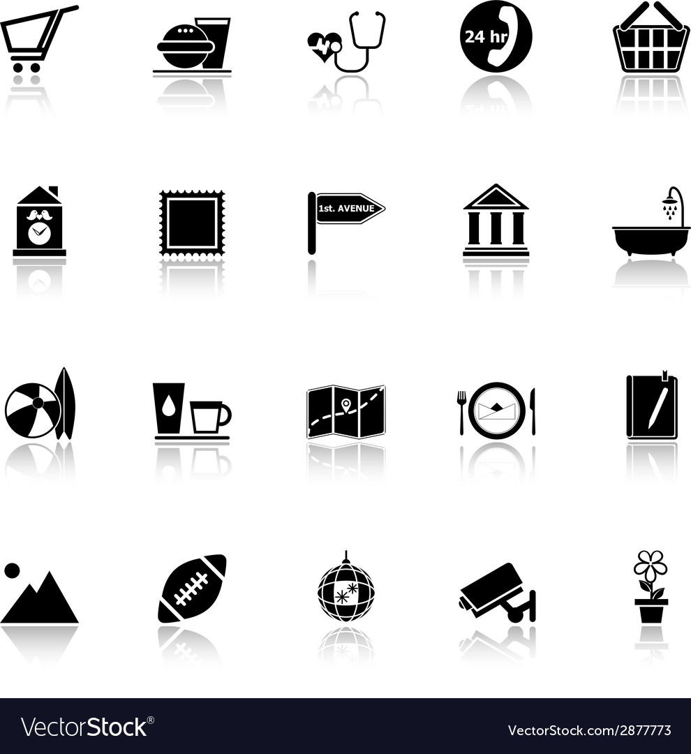 Public place sign icons with reflect on white vector | Price: 1 Credit (USD $1)