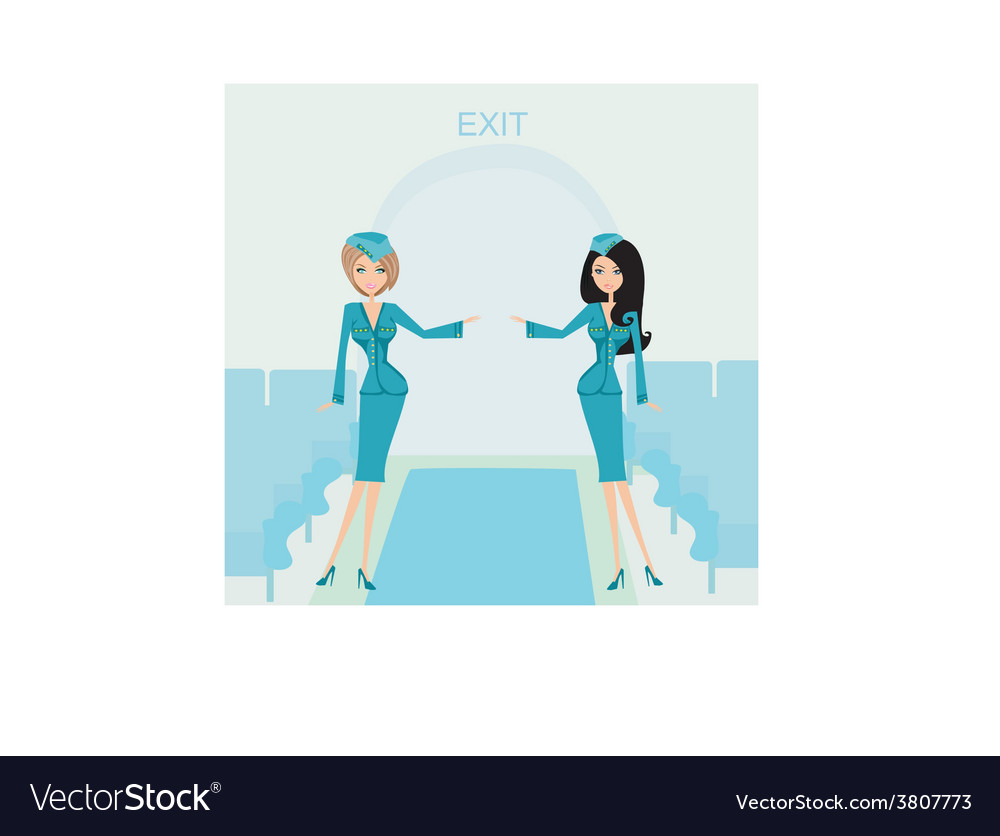 Two beautiful stewardess in blue uniforms inside vector | Price: 1 Credit (USD $1)