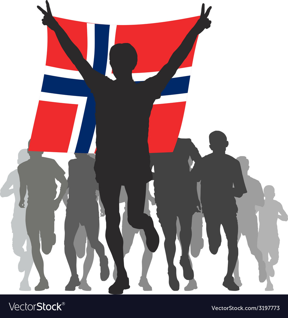 Winner with the norway flag at the finish vector | Price: 1 Credit (USD $1)