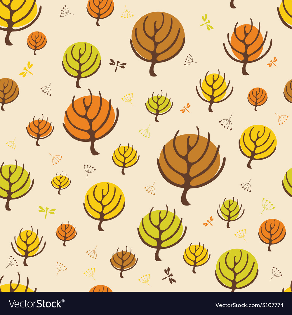 Autumn trees pattern for design wrapping paper vector | Price: 1 Credit (USD $1)
