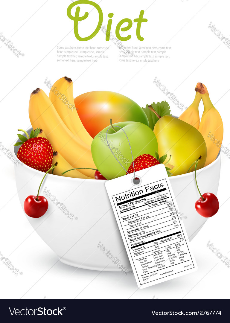Bowl of healthy fruit with a nutrient label vector | Price: 1 Credit (USD $1)