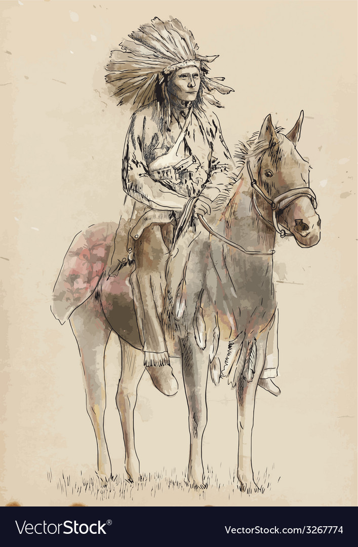 Indian chief sitting on a horse vector | Price: 1 Credit (USD $1)