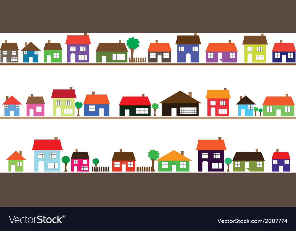 Neighborhood with colorful homes vector | Price: 1 Credit (USD $1)