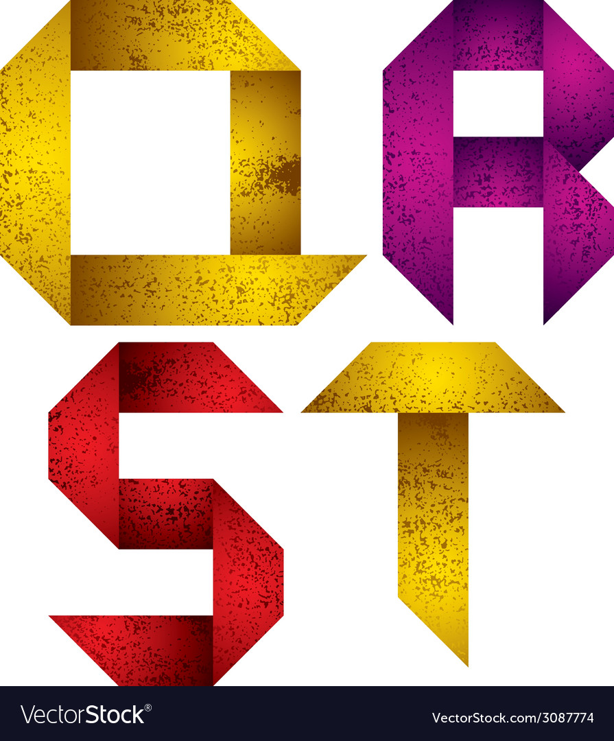 Origami alphabet letters q r s t vector   Price: 1 Credit (USD $1)